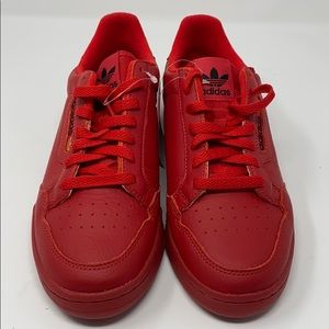 Adidas Continental 80 Red Leather Fashion Sneaker